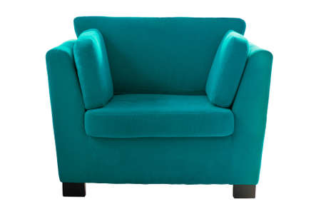 Green sofa isolate on white background photo