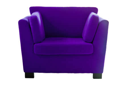 Purple sofa isolate on white background photo