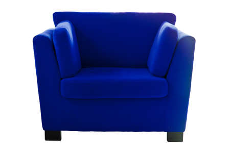 Blue sofa isolate on white background photo