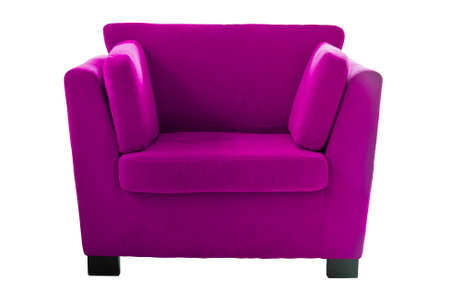 Pink sofa isolate on white background photo