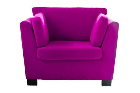Roze sofa isoleren op witte achtergrond
