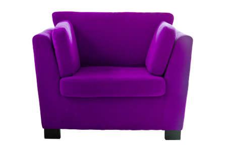 Purple sofa isolate on white background photo