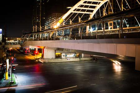 Traffic lights at night bangkok Thailand Stock Photo