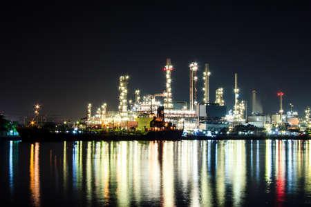 chao praya: Oil refinery at twilight Chao praya river Bangkok Thailand