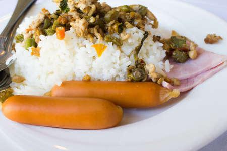 Basil Fried Rice with Pork Sausage and Ham