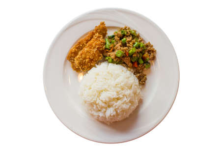 Rice and curry with fried chicken on a white dish photo