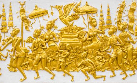 Golden thai painting art wall