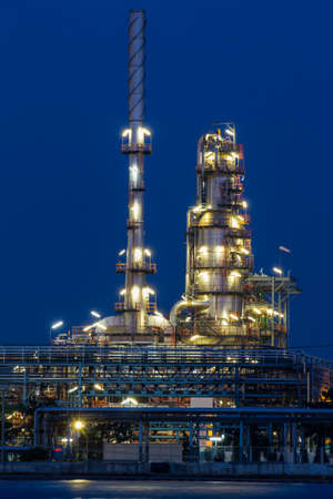 Oil refinery plant at twilight photo