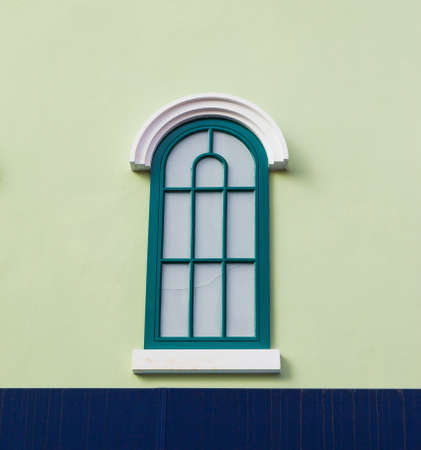 Vintage windows on Green wall photo