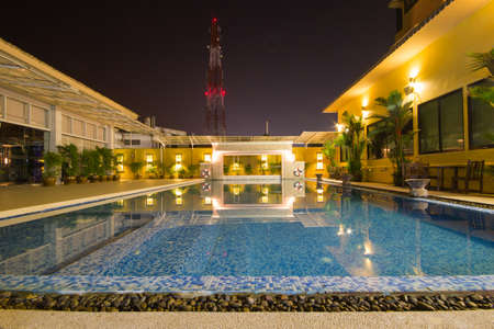 Swimming pool in hotel at night