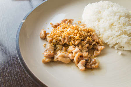 Rice with chicken fried with garlic and black pepper photo