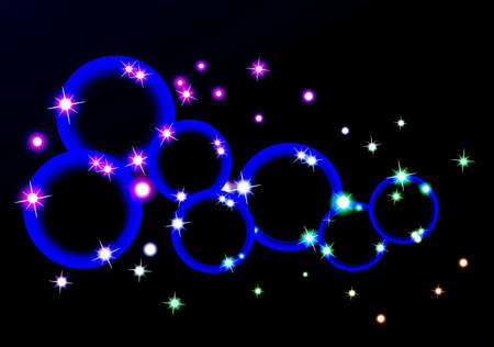 circle with light and star vector design