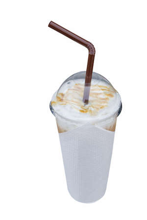 Ice coffee in a cup isolate on white with clipping path Stock Photo