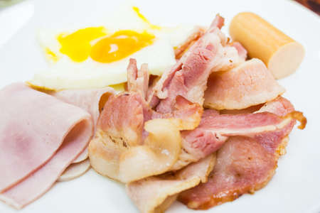 Breakfast style sausage and bacon with ham Stock Photo