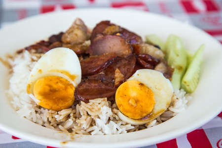 Rice with roasted pork  in the dish Stock Photo