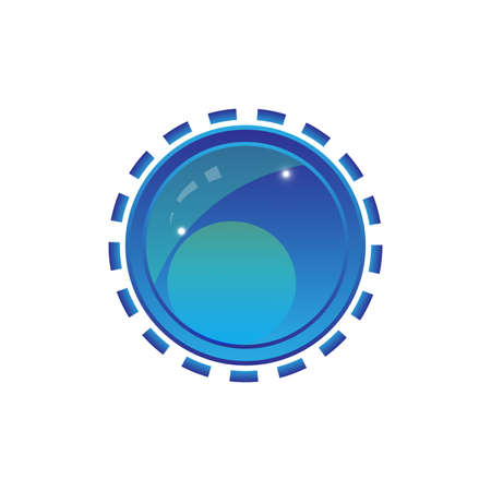 Blue shiny button with elements, vector design Illustration