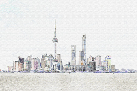 huangpu: Line drawing of buildings in The Bund, Shanghai