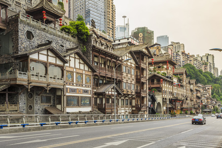 ancient architecture: Buildings and street in Hongyadong, Chongqing Editorial