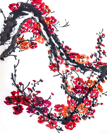 flores chinas: The traditional Chinese painting Foto de archivo