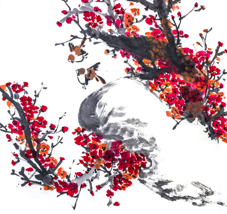 The traditional Chinese painting Imagens