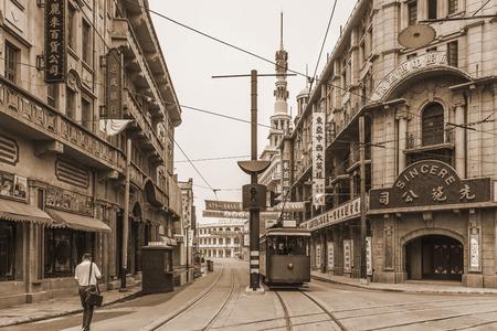 상하이 오래 된 거리 에디토리얼