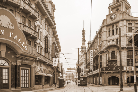 상하이 오래 된 거리의보기