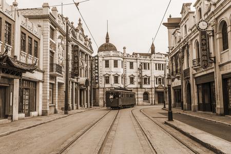 View of old Shanghai street Редакционное