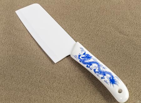 cuchillo de cocina: cuchillo de cocina de porcelana azul y blanca