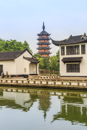 Potrait view of an ancient chinese style garden