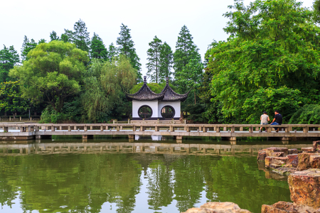 chinese garden: Chinese Garden with pond Stock Photo