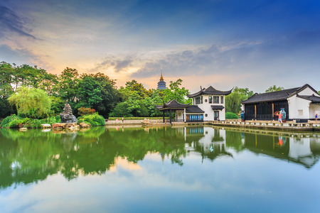 ancient architecture: Chinese Garden park with  ancient architecture