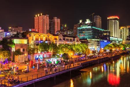 Nachtansicht von Ningbo Standard-Bild - 60518725