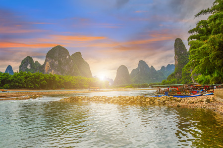river rafting: Guilin Scenery Stock Photo