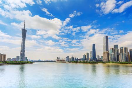 milepost: Guangzhou Pearl River scenery Editorial