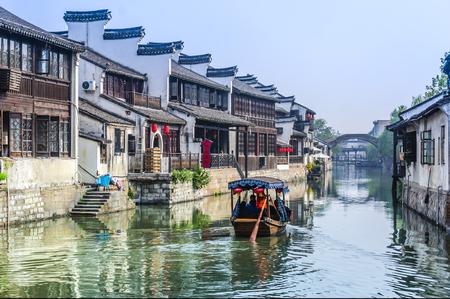중국의 유명한 강남 워터 빌리지, Nanxun 마을. 에디토리얼
