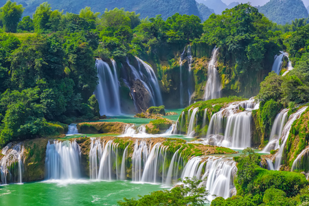 landschaps mening van waterval Detian Stockfoto