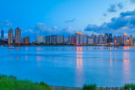Wenzhou night view and city skyline