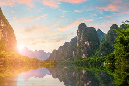 Guilin Lijiang River scenery in Yangshuo Standard-Bild