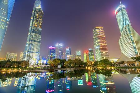 Lujiazui Shanghai city night scene Stock Photo