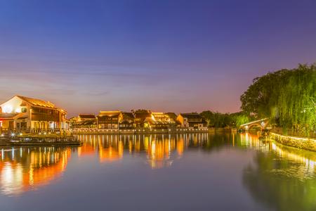 Night view of Suzhou ancient town Stock Photo