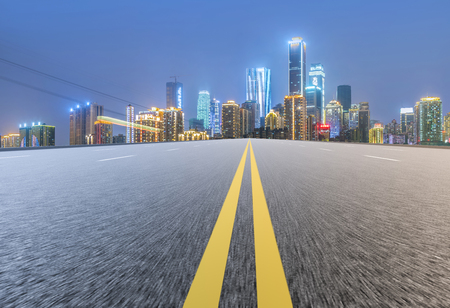 asphalt texture: The road  and beautiful skyline of chongqing