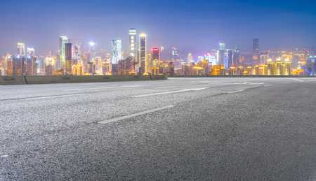 asphalt texture: The road  and skyline of chongqing