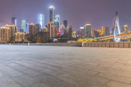 asphalt texture: Road and beautiful skyline of Chongqing Stock Photo