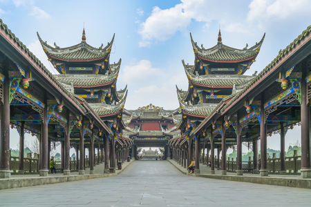 Ancient town of Huanglong valley in Chengdu
