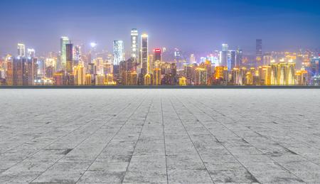 tarmac: Road and city skyline Stock Photo
