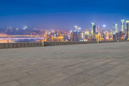 asphalt texture: Landscape city view skyline with pavement Stock Photo