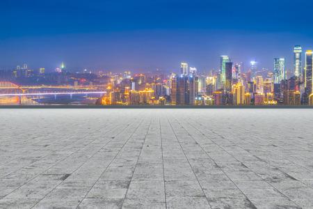 asphalt texture: Road and city skyline Stock Photo
