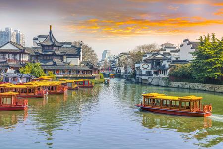 난징 Qinhuai 강, 유명한 역사 및 문화 관광 명소. 스톡 콘텐츠