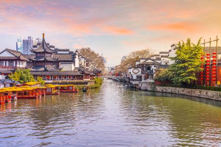 Nanjing der Qinhuai Fluss Standard-Bild - 87891563