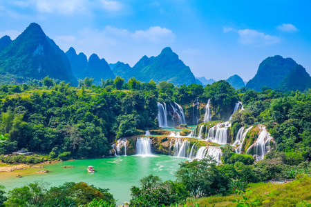 Landscape scenery view of a waterfall in Detian, Guangxi